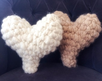 Alpaca Heart Pillow, Super Chunky Crochet