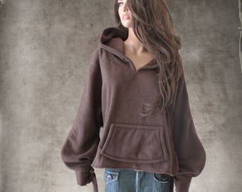 Hood sweatshirt brown/Women fleece top/pull over top/active wear hoody/Long sleeve blouson