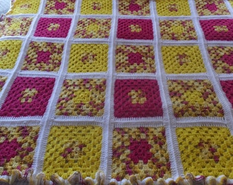 Vintage Hand Crochet Yellow & Pink Granny Square Afghan Blanket