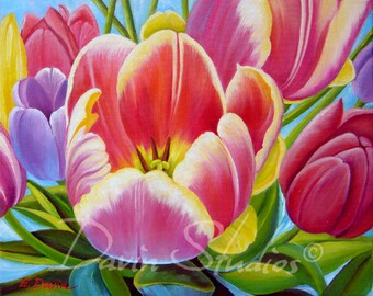 Rainbow tulips, red tulips, pink tulips signed giclee art print of original painting.