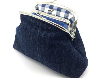 Blue Denim Kiss Lock Clutch Coin Purse Wallet Gift for Women Check White Cotton Metal Silver Frame