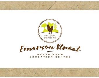 Custom Logo Design - PreDesigned Logo PreMade Logo Vector Logo - OOAK Logo - EMERSON STREET Logo Branding - Farm Logo - Chicken Logo