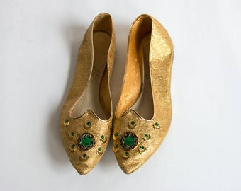 Vintage 60's Crescent Moon Gold Metallic Flats / Women's Size 7 - 7 1/2 US / Mod Retro Hip