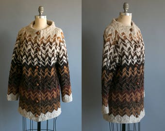 Vintage 1970's Long Zig Zag Pure Wool Woven Sweater with Round Wool Buttons/ Women's Retro Bohemian Size Medium Large