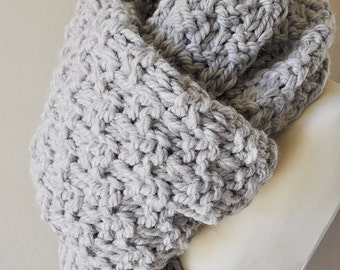 Unisex Oversized Super Chunky Grey Knit Scarf With Tassels, Gift For Him or Her