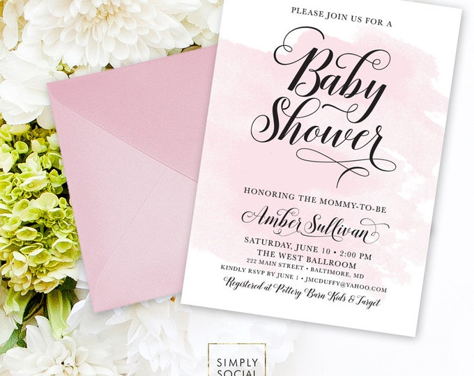 Blush Pink Baby Shower Invitation - Personalized Custom Watercolor Brush Stroke Modern Calligraphy Printable Baby Shower Party Invite