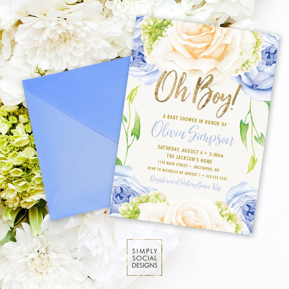 Blue Floral Baby Shower Invitation Oh Boy It S A Boy