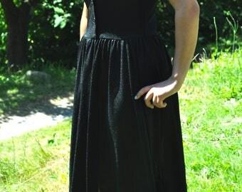Vintage 1960s Black Knit Cap Sleeve Dress M