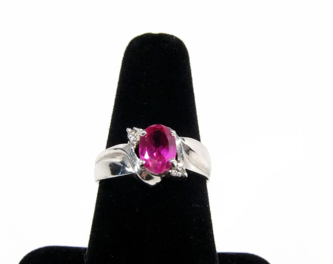 Sterling Silver Lab Created Ruby Ring