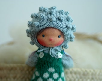 "Waldorf doll, Knitted doll Genevieve  14"", rag doll, OOAK, handmade doll by Peperuda dolls, soft doll"