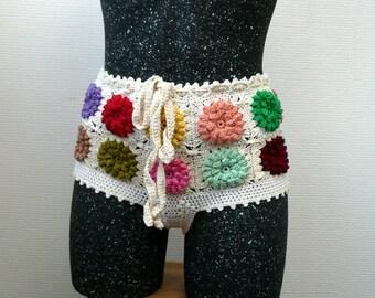 Crochet Women Boy Shorts, Summer Fashion, Beach Cover-up, Bikini Bottom,Crochet bikini swimwear shorts Granny square