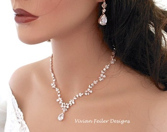 ROSE GOLD Wedding Set Necklace and Earrings Cubic Zirconia Jewelry Wedding Jewelry Set