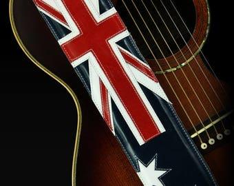 Leather Guitar Strap, Australia Guitar Strap:  Down Under Guitar Strap