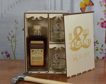 Personalized Wedding Ceremony Spirits Box with 2 Cuistom Etched Tumblers