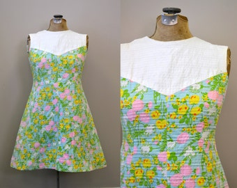1960s Ribbed Floral A-Line Dress