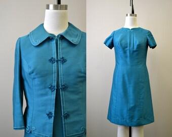 1960s Teal Dress and Jacket Set