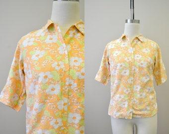 1960s Orange Floral Cotton Shirt