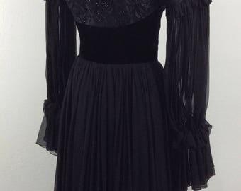 Vintage Mid Century Black Silk and Velvet Gown/70s Velvet and SilkPeasant Gown/Goth Velvet Maxi Dress/70s Gypsy Maxi Dress