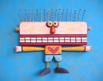 The Hug Meister, Original Found Object Wall Sculpture, Wood Carving, Wall Decor, Valentine, by Fig Jam Studio