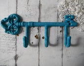 cottage chic aged turquoise hook antiqued weathered leash hook scarf hook belt holder shabby decor clothing hook french country wall hook