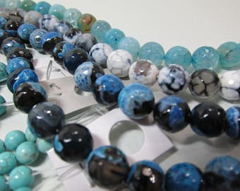 Sale Bead Lot Supplies Strands 16 in 10mm Blue and Aqua and Turquoise  4 + Faceted Strands Destash