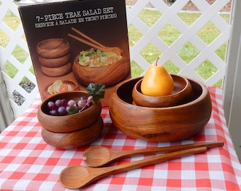 Teak wood bowl set 7pc in original box danish wood bowls salad bowl set