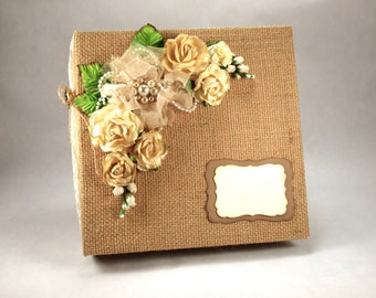 Custom Wedding Album, Burlap & Lace Photo Album, Wedding Guest Book, Personalized Scrapbook, 1st Anniversary Gift, Bridal Gift,