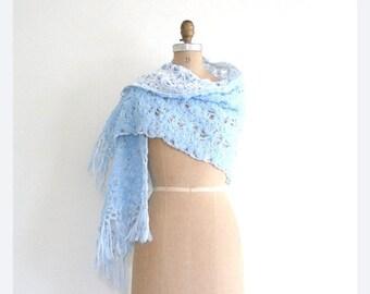 3 DAY SALE vintage 60s pastel crochet shawl - 1960s granny shawl / Japan - hand crocheted powder blue shawl  / vinatge bridal shawl