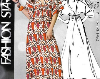 McCalls Caftan Sewing Pattern MP227/6552 EASY Fashion Star Maxi Dress Empire Waist Size XS,S, M