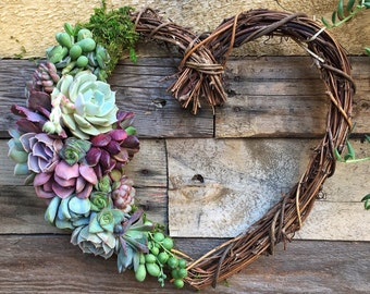 "12"" Sweet Heart Wreath, Heart Shaped Grapevine Wreath Trimmed with Beautiful Succulents"