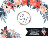 Coral & Navy Floral ClipArt | Leaves Wreaths Branches and Borders for Stationery, Wedding Invites, and Products | Navy Blue Greenery
