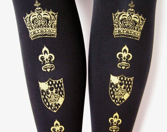 Crown Tights Gold Black Small Medium  Lolita Dolly Kei Otome J Fashion