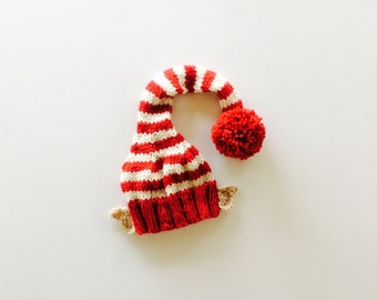 MADE TO ORDER Baby Elf Hat With Ears, Red/Cream colors, custom sizes