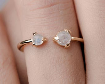 Double Moonstone Ring, Sterling Silver, Yellow Gold Vermeil, Minimalist Open Ring, Stone Cuff Ring, Lunai, Engagement Gift, RNG021MOO