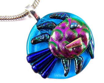 "Glass Fish Pendant - Blue Aqua Cobalt Magenta Pink Green Swimming Fish Fused Glass Polka Dotted Patterned Nautical Guppy Goldfish 1.5"" 42mm"