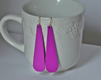 Dark Hot Pink Magental Long Teardrop Drop Earrings Leather