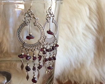 Dangly Garnet Chandelier Earrings Boho Boho Chic Hippie Hippy Chime Earrings Windchime Natural Gemstone Handmade Earrings