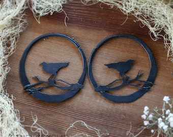 Raven and Branches Large Size Hoop Earrings in Brass Bird Earrings Crow Raven Tree Nature Handmade Earrings Antiqued Earrings Ritual Remains