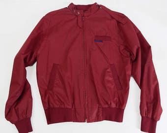 Mens Vintage Burgundy Windbreaker Jacket Size Medium