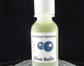 BLUE BALLS Beard Oil, Cologne Oil, Small .5 oz Fresh Blueberry Scented Beard Conditioner, Natural Beard Oil, Apricot & Avocado Oil Fruity