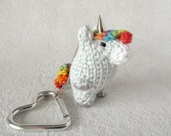 Key Pendant Unicorn, bag charm rainbow myth horse, small Toy Animal with Heart Snap Hook, key chain fob miniature horse, mini unicorn kawaii