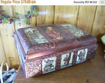 SaLe Biscuit Box E Otto Schmidt Copper & Tin Lithograph Germany Antique Kitchen Collectible