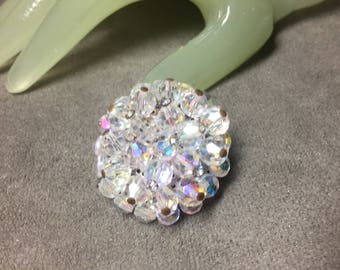 """Vintage 1 3/4 """" Silvertone Clear Faceted Glass Cluster Beaded Accented Pin"""