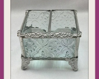 3 x3, Glass Box, Stained Glass Wedding Ring Bearer Pillow Alternative, French Inspired Wedding Decor, Glass Ring Box