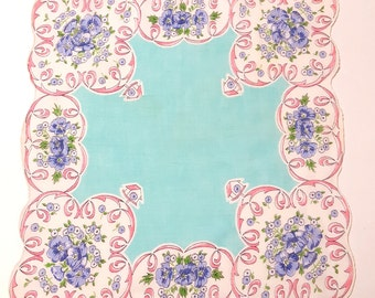 Ladies Handkerchief Robin's Egg Blue /Aqua Center, Purple Flowers with Pink Ribbon and Little Bird Houses on a Scalloped Edge