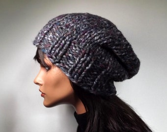 Slouch Beanie Slouchy Hat Gray Purple Peacock Blue  Marble Stained Glass Tweed Winter Accessories