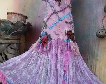 20%OFF wildskin, fantasy, romantic, gypsy, dress, mermaid, boho, gypsy wedding dress,SALE PRICE,slip, bohemian dress, ivory lace, stevie nic