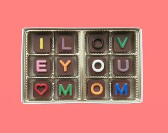 Funny Mothers Day Gift Mom Mothers Gifts Box Chocolate Message A Surprise from Daughter and Son I Love You Mom Jelly Bean Chocolate Cube