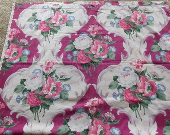 Framed Floral Print Barkcloth Like Fabric Drape, Waverly Print Brierwood