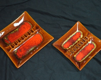 Bright Pair of  Pottery Ashtrays-Square-Red and Brown Ashtrays